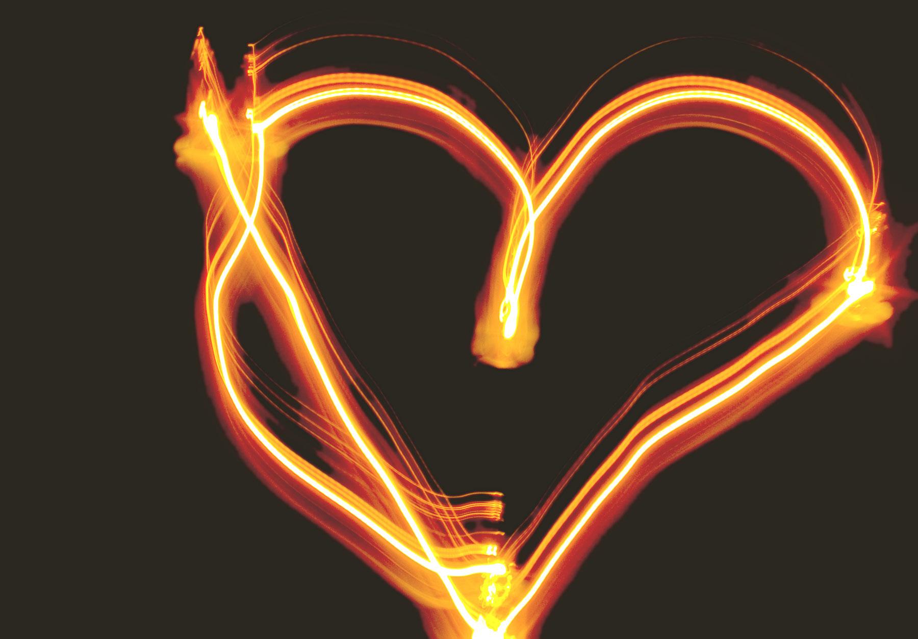 Neon Herz orange